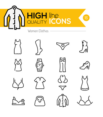 on line shopping: Women Clothes line Icons series Illustration