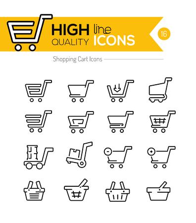Carros de la compra de línea Iconos