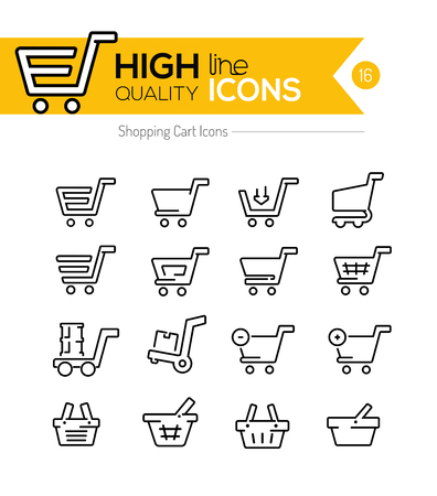 Shopping Carts Line Icons Illustration