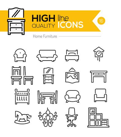gospodarstwo domowe: Główna linia ikon mebli Ilustracja