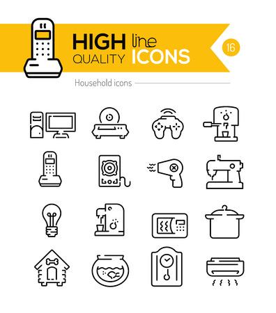 Huishouden iconen lijn series