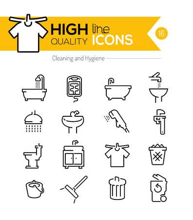Productos de limpieza y de higiene línea iconos Foto de archivo - 44085797