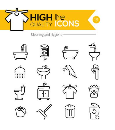 cesto basura: Productos de limpieza y de higiene línea iconos