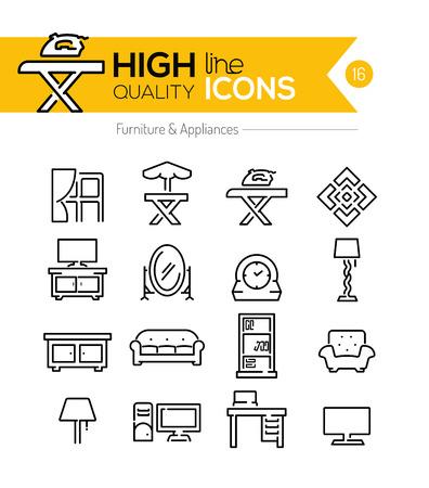 Meubels en apparaten lijn iconen Stock Illustratie