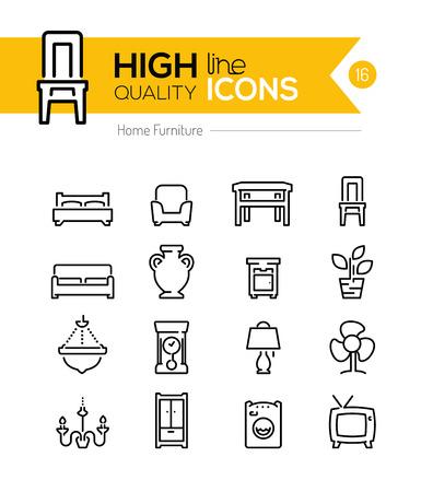 Furniture line icons 일러스트