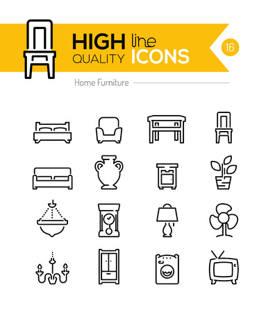 Furniture line icons Illustration