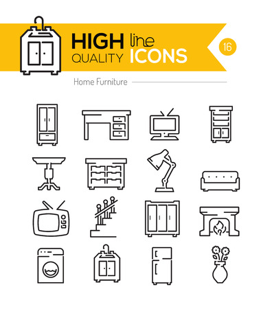 furniture: Home Furniture line icons three