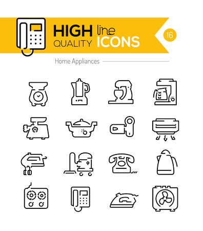 Home appliances line icons two