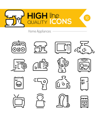 meat  grinder: Home appliances line icons