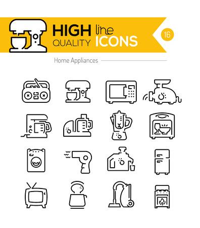 Huishoudelijke apparaten lijn iconen