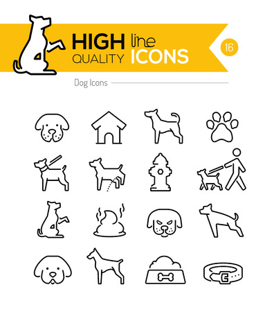 Dog Line Iconos Vectores