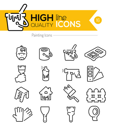 house painter: Painting Line Icons Illustration