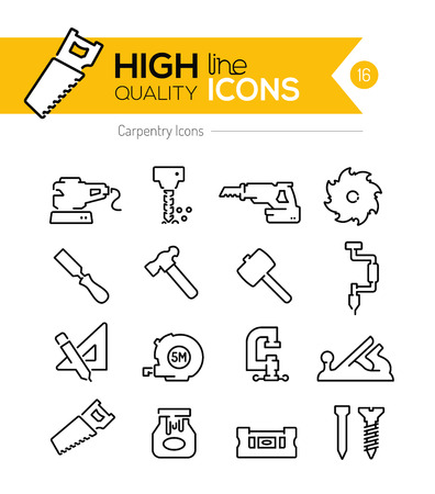 nail cutter: Carpentry Line Icons Illustration