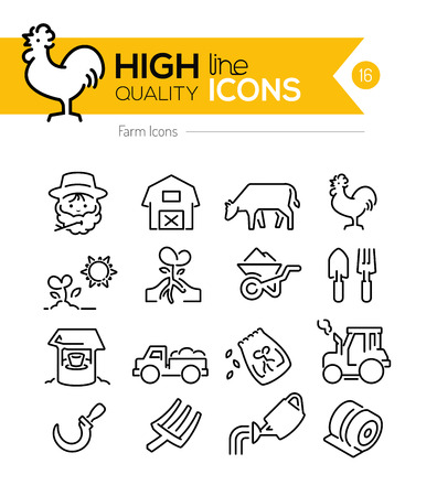 natural cock: Farm Line Icons