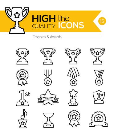 Trofee en Awards Line Icons Stock Illustratie