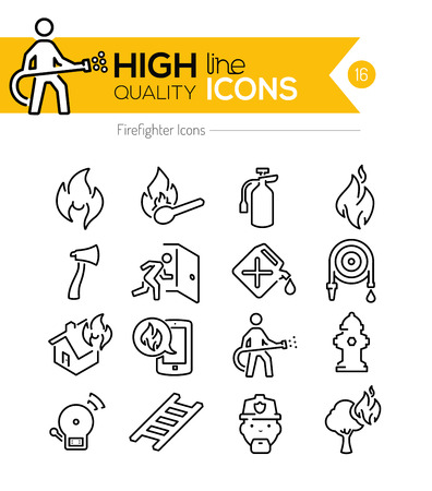 flames icon: Firefighting Line Icons Illustration