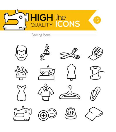tumbler: Sewing Line Icons