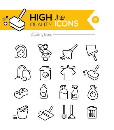 limpieza  del hogar: Limpieza Línea Iconos