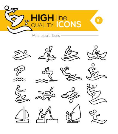 actividad: Deportes acuáticos Línea Iconos
