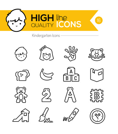 COLOURING: Preschool Line Icons Illustration