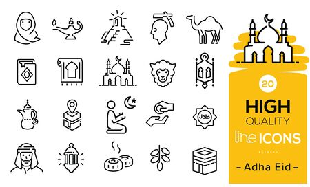 Adha eid icons set including eid items, sweet, lamp, prayer, hajj process, praying icons, eid sheep, mosque, traditions symbols and Arabian items.