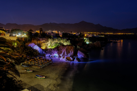 nerja: Beautifully Lit up beach at night, long exposure