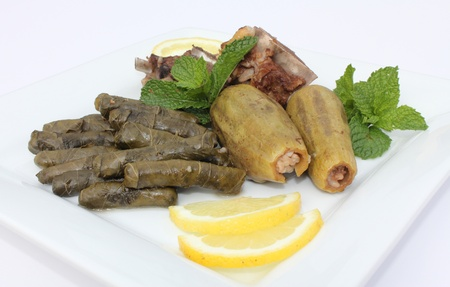 mediterranean cuisine: Plate of Stuffed Vine Leaves and Zucchini Stock Photo