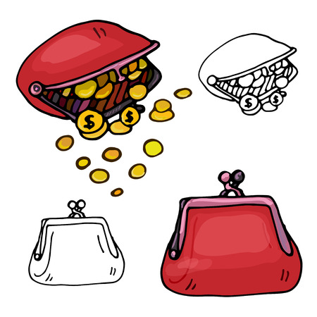 purses: Colorful purses. Hand drawn illustration on white background. Vector file