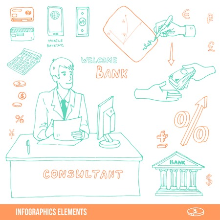 signing a contract: Elements of infographics about visiting the bank, loan or signing a contract Illustration