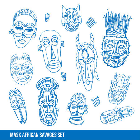 Collection of african mask, vector hand drawn illustration