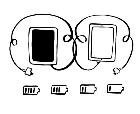 cell charger: tablet with plug connection ready to get power vector illustration hand drawn Illustration