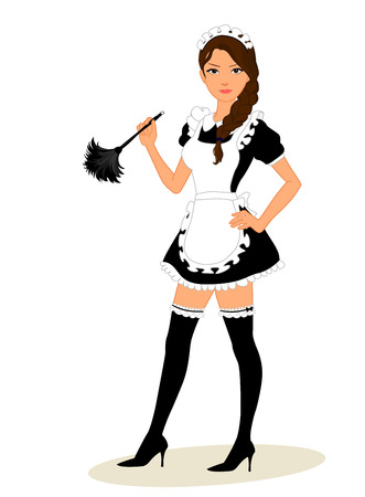 Cute young maid in classic maid dress costume holding a feather duster isolated on white background
