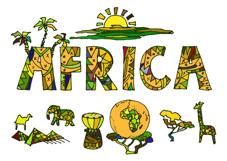 Vector illustration drawn by hand, a set of elements of African ethnic symbols
