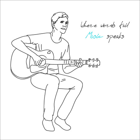 guy playing guitar: young man musician guitar player sitting and playing the guitar, vector illustration