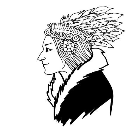 mature woman: Mature Woman American Indian sketch hand drawn vector illustration Illustration