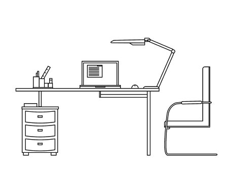 computer desk: Working computer desk, lamp, computer chair, vector illustration linear