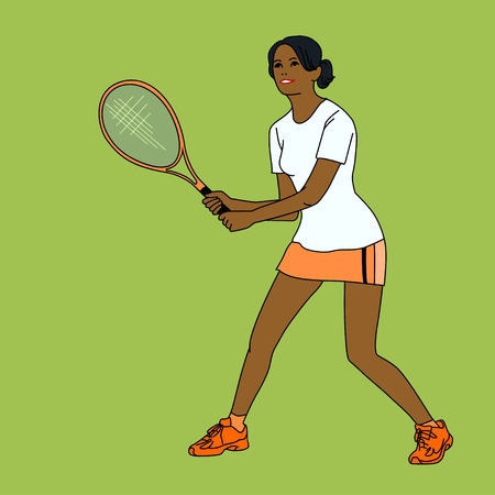 mulatto: mulatto girl playing tennis, cute smile, vector illustration