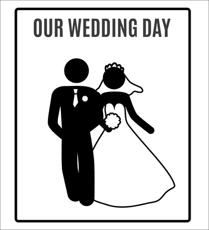 pareja casada: vector de novia de la boda el novio acaba casado case Matrimonio Icono Símbolo Pictograma sesión