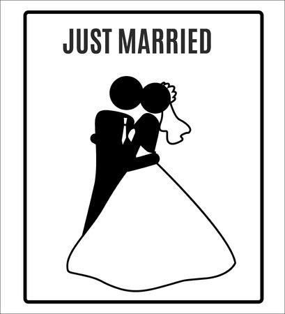vector Wedding Bride groom just Married Marry Marriage Icon Symbol Sign Pictogram Vector