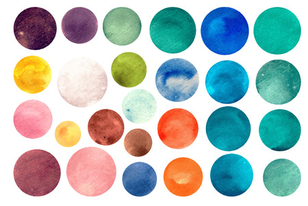 onto: Watercolour circle textures. Mega-useful pack for you to drag and drop onto your designs. Perfect for branding, greetings, websites, digital media, invites, weddings, merchandise designs and so much more. Bright color vector illustration.