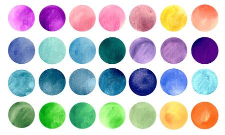 Aquarel cirkel texturen. Mega-handig pack voor u te slepen en neerzetten op uw ontwerpen. Perfect voor branding, groeten, websites, digitale media, nodigt, bruiloften, merchandise ontwerpen en nog veel meer. Heldere kleuren vector illustratie.