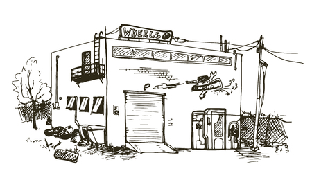 Vector hand drawn detailed illustration of repair garage, automobile workshop house Vector