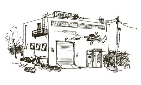 automobile workshop: Vector hand drawn detailed illustration of repair garage, automobile workshop house