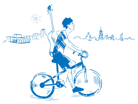 bycicle: Musician with guitar rides a bicycle through the city, vector illustration drawn by hand in blue colors Illustration