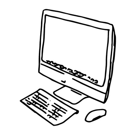 Modern stylish personal computer, vector illustration, isolated on white  イラスト・ベクター素材