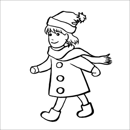 little one: Cute little girl wearing a scarf, hat and coat walks with a smile, hand-drawn vector illustration