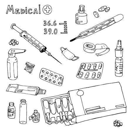 pastille: vector Illustration box to receive prescription pills, drugs, syringe, thermometer, temperature, Hand drawn Illustration