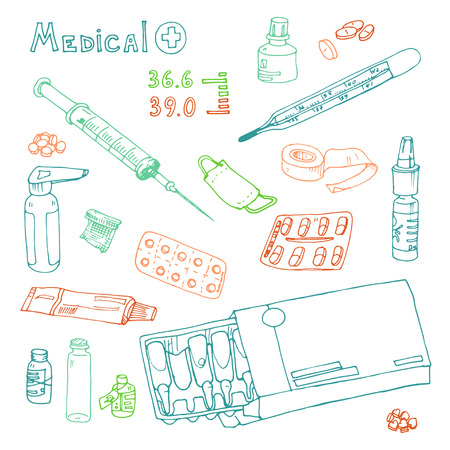 pastille: vector Illustration box to receive prescription pills, drugs, syringe, thermometer, Hand drawn