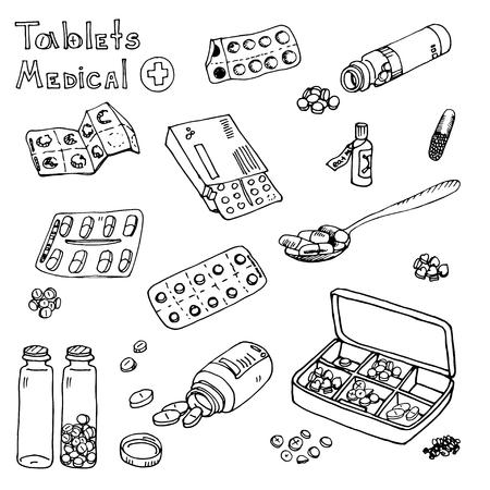 pastil: vector Illustration box to receive prescription pills, drugs, medical tablets. Hand drawn Illustration