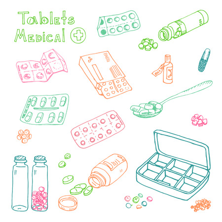 vector Illustration box to receive prescription pills, drugs, medical tablets. Hand drawn  イラスト・ベクター素材